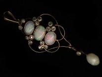 Edwardian Gold, Opal, Pearl & Rose Diamond Pendant