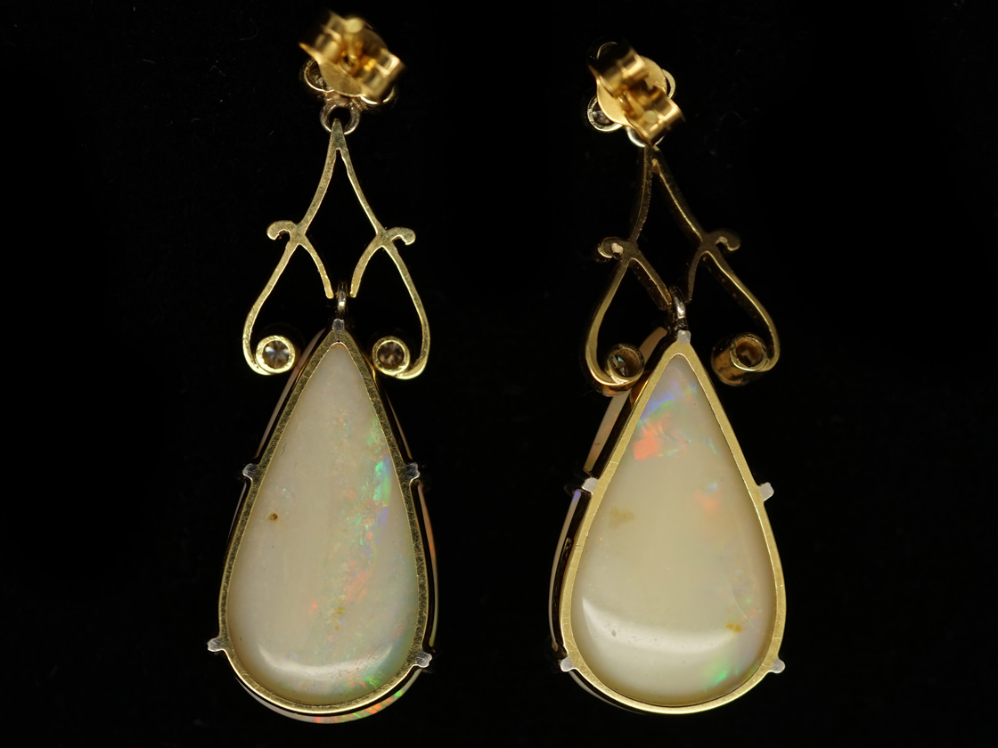 Art Deco Large Pear Shaped Opal & Diamond Drop Earrings
