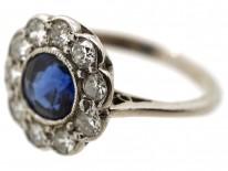18ct White Gold Sapphire & Diamond Cluster Ring