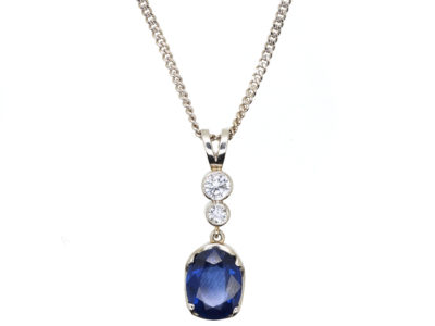 Sapphire & Diamond Drop Pendant on 18ct White Gold Chain