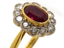 Ruby & Diamond Oval Cluster Ring