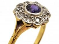 Edwardian Amethyst & Diamond Cluster Ring