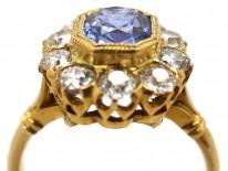 Edwardian 18ct Gold Octagonal Sapphire & Diamond Ring
