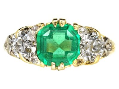 Victorian Carved Half Hoop Emerald & Diamond Ring