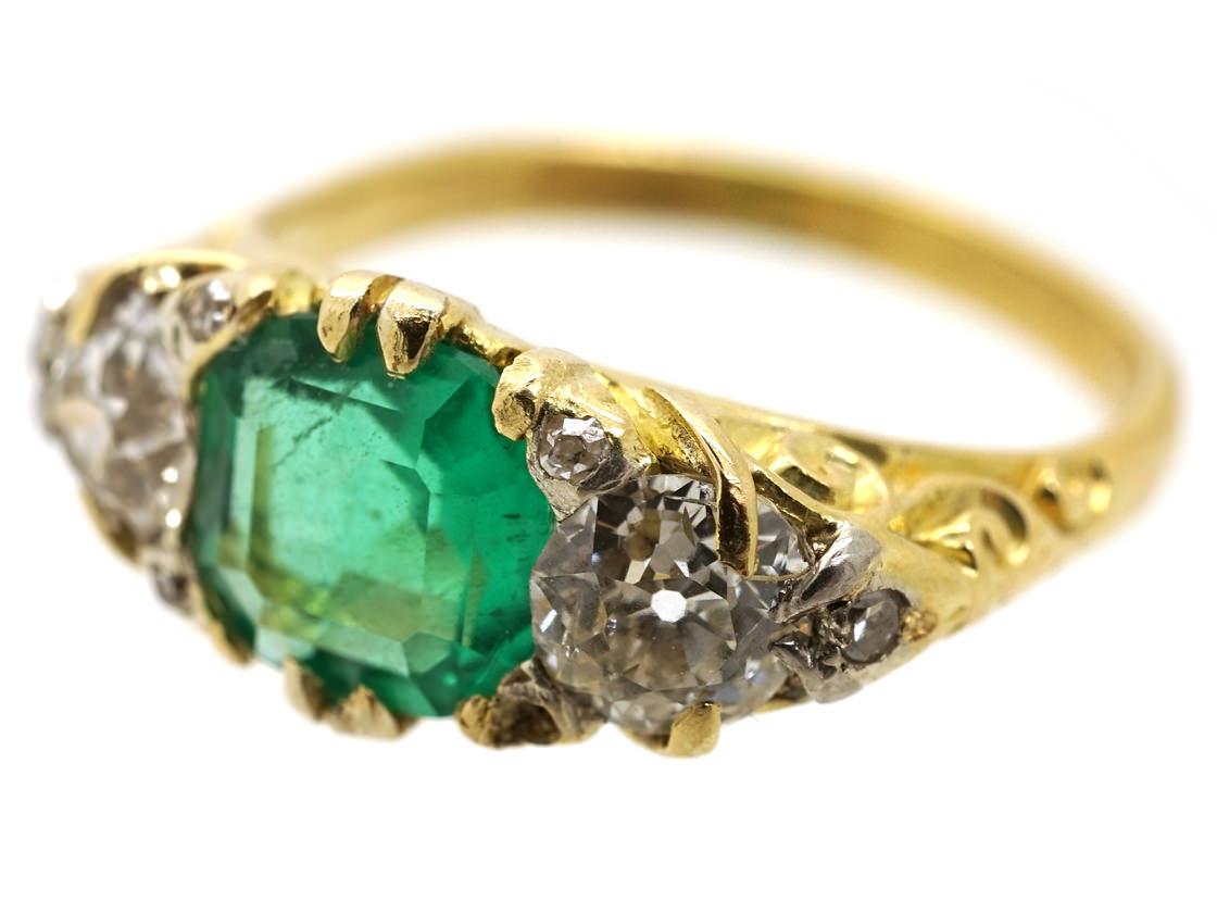 Victorian Carved Half Hoop Emerald & Diamond Ring