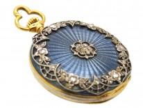 Edwardian 18ct Gold, Rose Diamond & Odenile Enamel & Watch