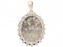 Victorian Silver & Gold Overlay Flower Basket Locket