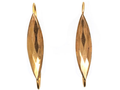 French Early 19th Century 18ct Gold Faceted Gold Long Hoop Earrings