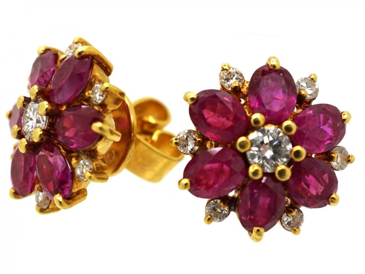 18ct Gold Ruby & Diamond Cluster Earrings