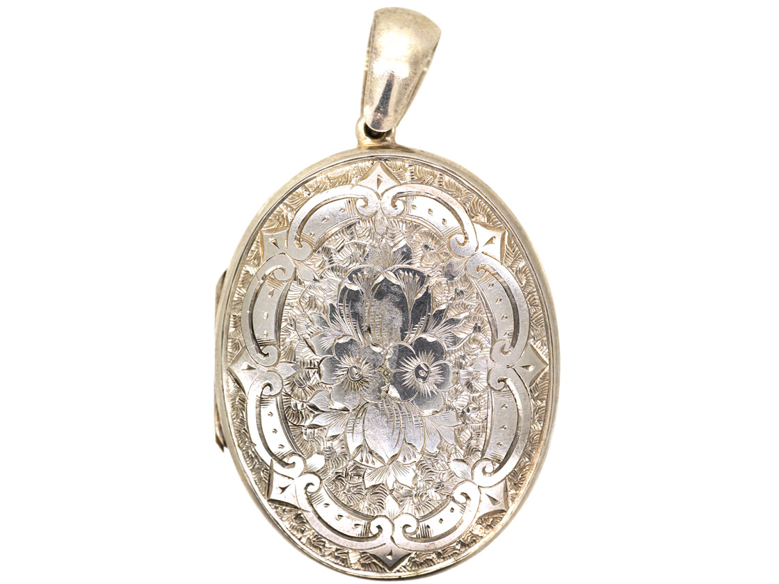 Victorian Oval Silver Locket With Shield & Ivy Leaf Design