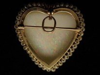 Edwardian 14ct Gold Large Opal & Natural Pearl Heart Pendant & Brooch