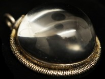 Victorian Silver Double Snake & Rock Crystal Round Pendant