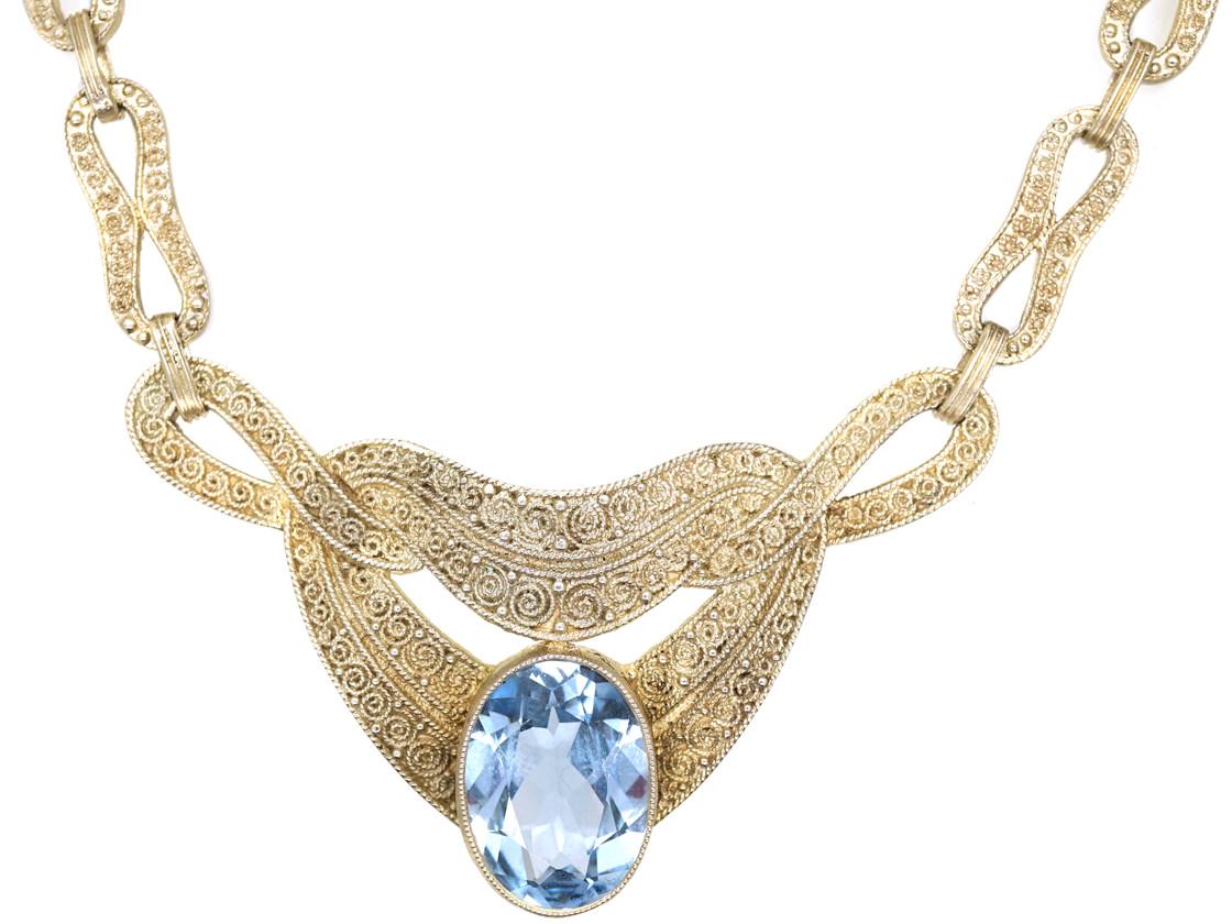 Theodor Fahrner Art Deco Necklace with Blue Paste