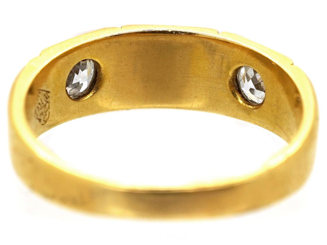 Victorian 18ct Gold Diamond & Natural Split Pearl Ring