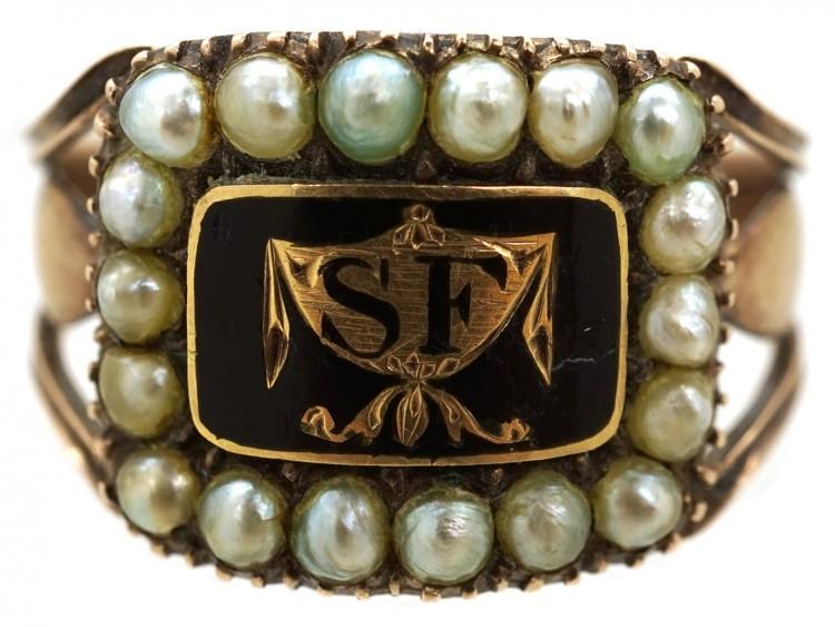 9ct Gold Georgian Black Enamel & Pearl Mourning Ring