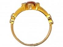 Hardstone Dancing Nymph 18ct Gold & Rose Diamond Victorian Ring