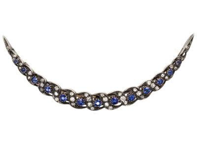 Edwardian Sapphire & Diamond Crescent Brooch
