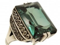 Theodor Fahrner Art Deco Silver & Synthetic Green Stone Ring
