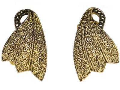 Theodor Fahrner Silver Gilt & Marcasite Clip On Earrings