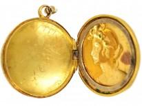 Art Nouveau 18ct Gold Locket of a Lady