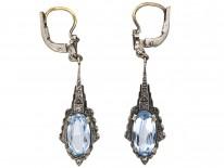 Art Deco Silver Drop Blue Paste Earrings