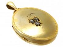 Victorian Large Oval 15ct Gold Locket Set With Three Rose Diamonds