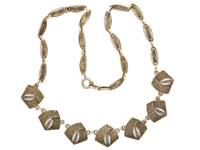 Theodor Fahrner Art Deco Silver Gilt ​& Marcasite Necklace
