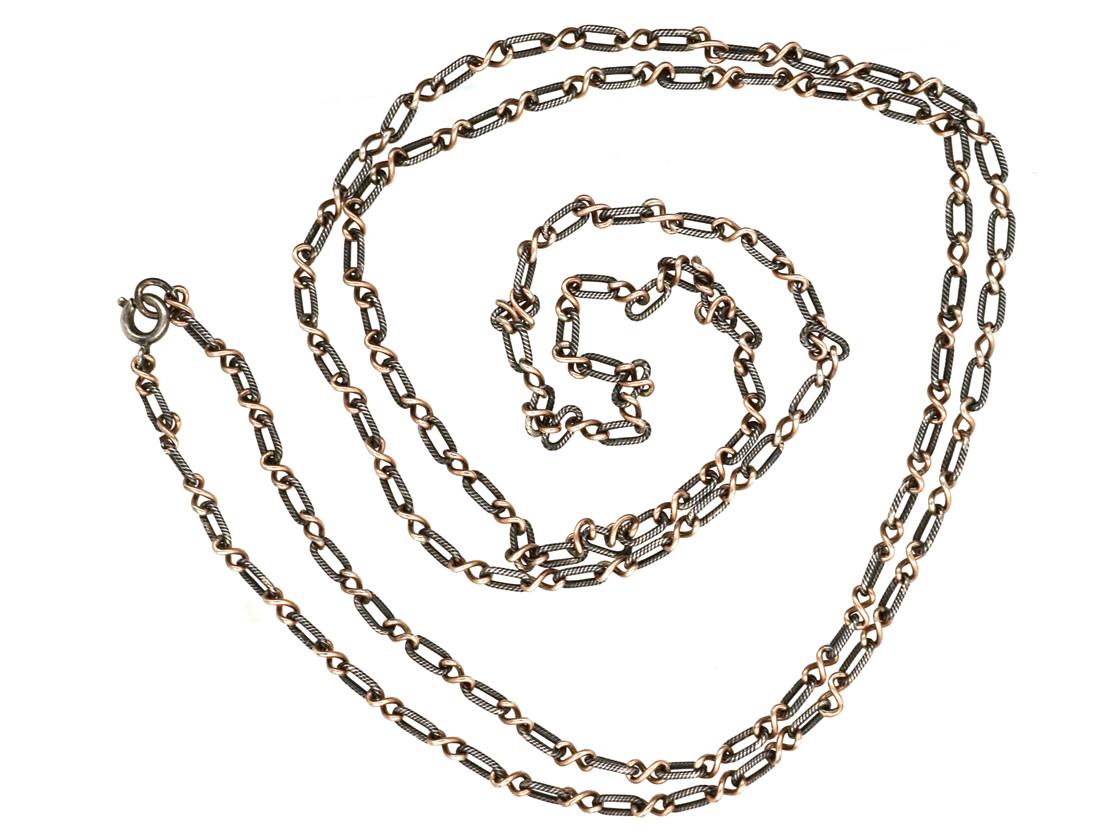 Edwardian Silver, Gold & Niello Chain