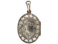 Victorian Silver Oval Locket With Ivy Leaf Detail