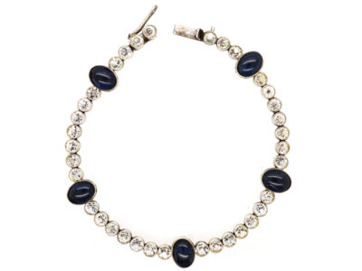 Art Deco Silver, Blue & White Paste Bracelet