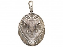 Victorian Silver Locket With Layered Detail