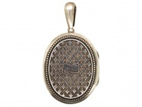 Victorian Oval Silver Locket With Diamond Detail