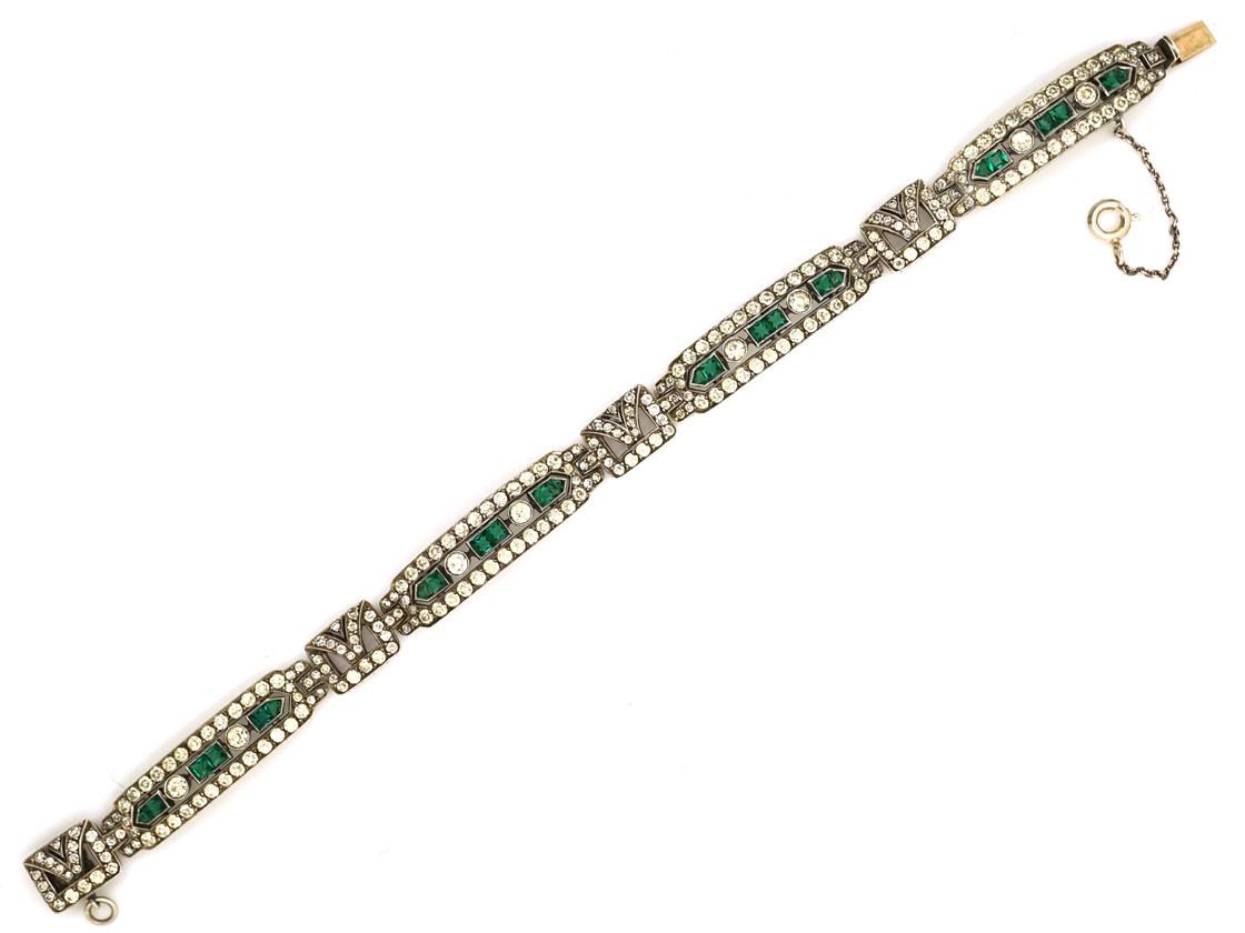 Art Deco Silver, Green & White Paste Bracelet