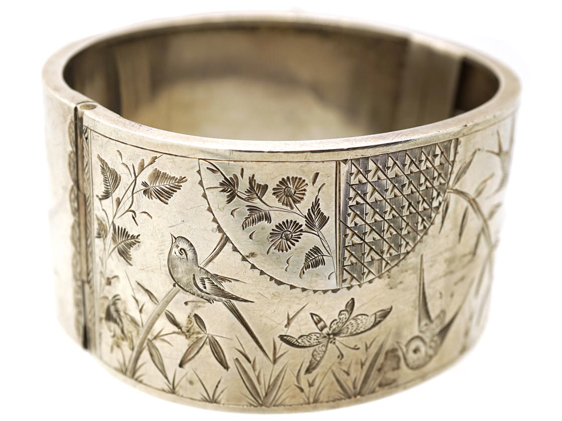 Victorian Silver Aesthetic Period Wide Bangle