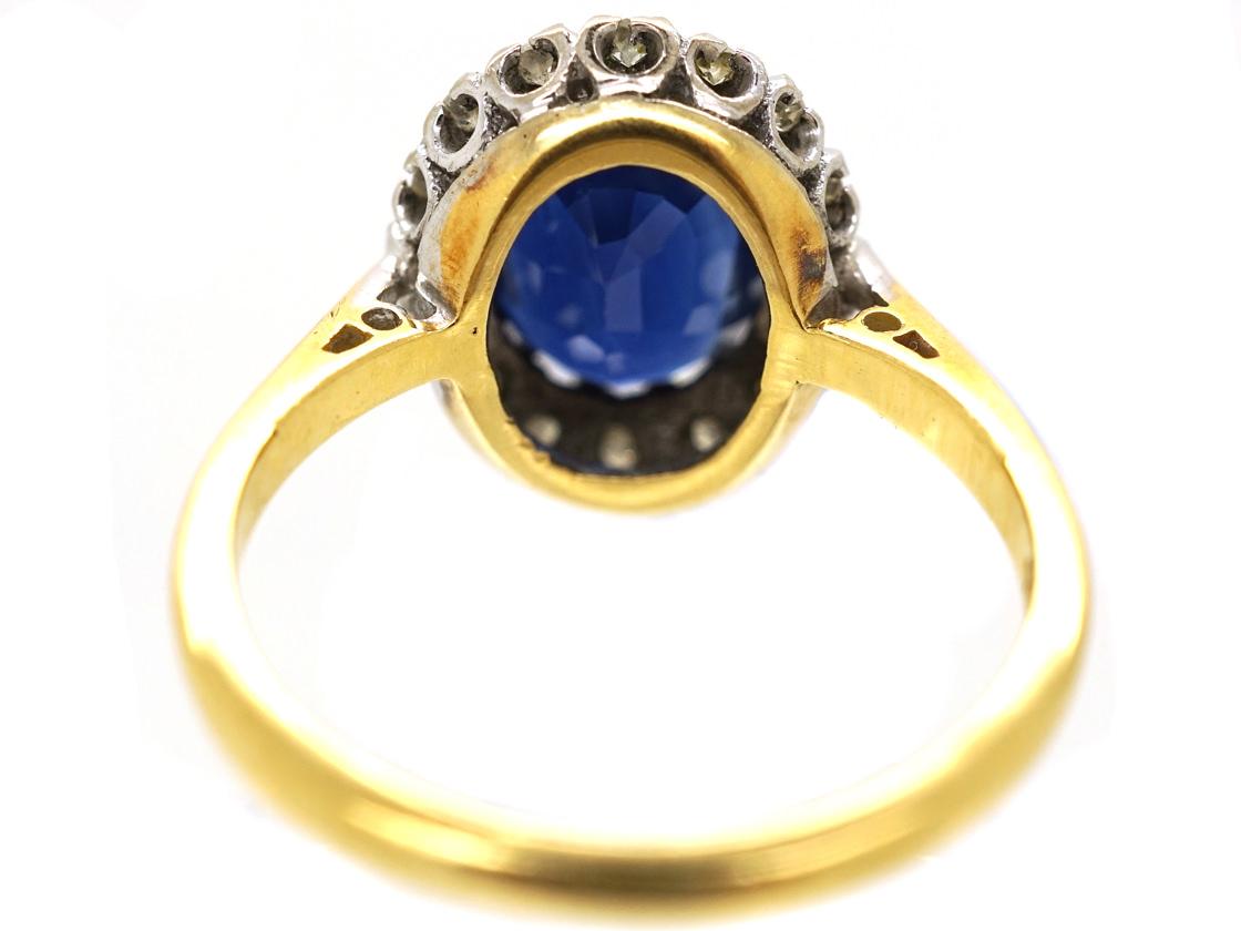 Sapphire & Diamond Oval Cluster Ring