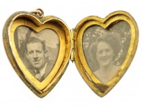 Edwardian 9ct Back & Front Heart Locket With Swallow Motif