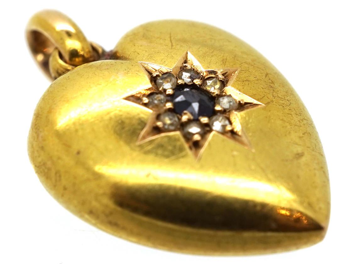 Edwardian 15ct Gold Sapphire & Diamond Heart Shaped Pendant