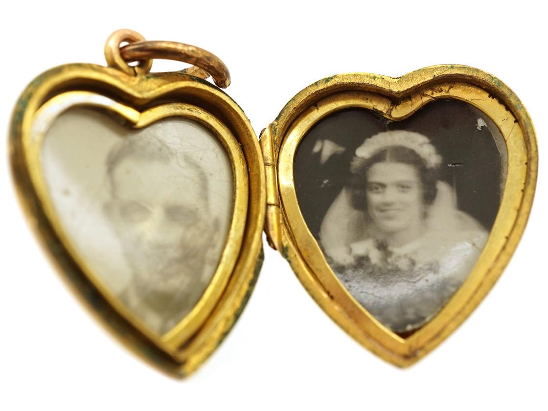 Edwardian Plain 9ct Back & Front Gold Heart Locket