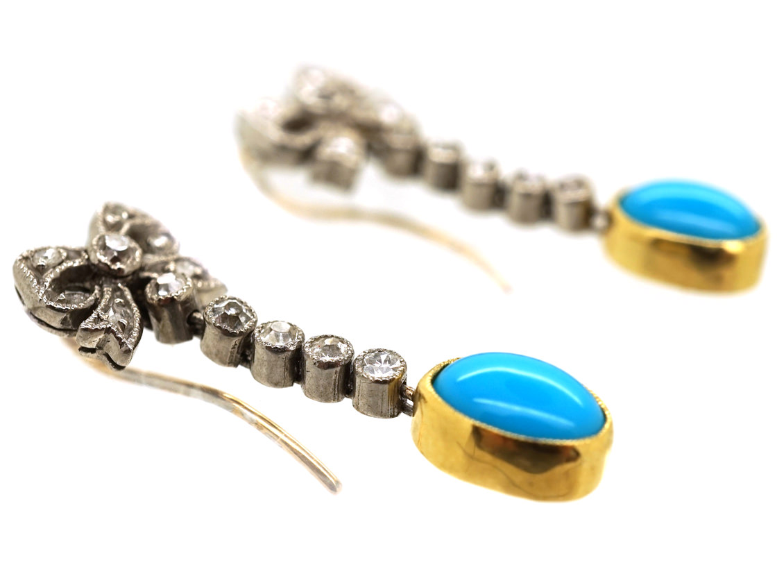 Edwardian Turquoise & Diamond Drop Earrings With Bow Tops