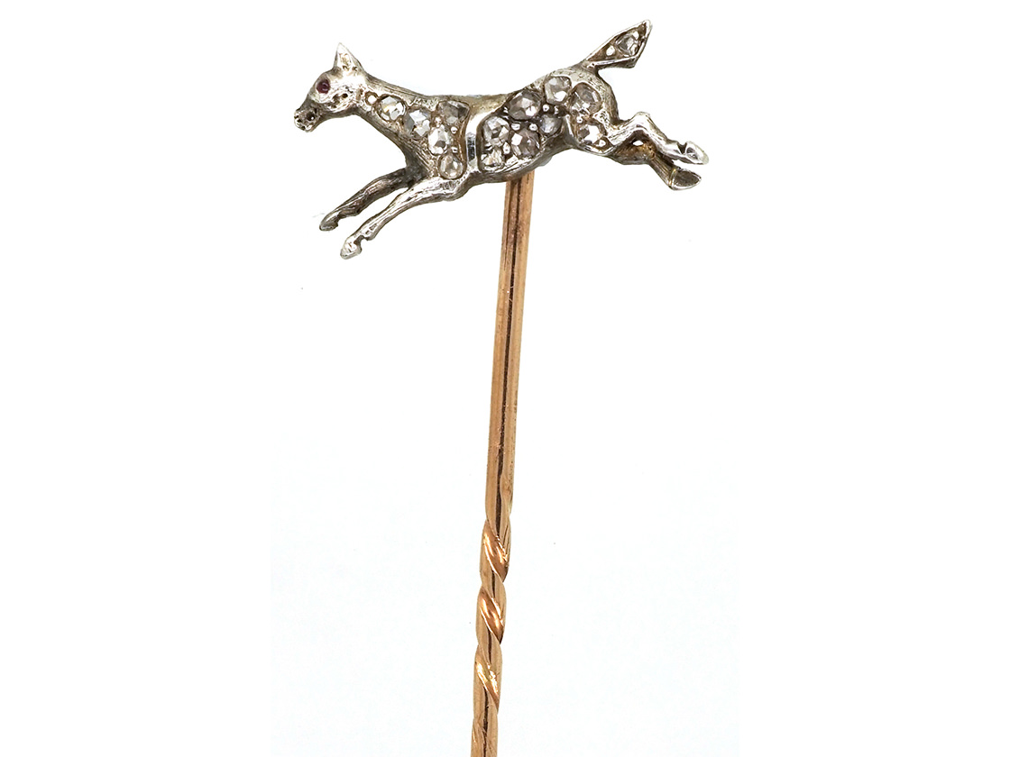 Edwardian Diamond Set Stick Pin of a Galloping Horse