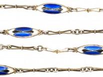 Art Deco Silver, Blue & White Enamel Long Chain