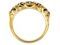 Victorian 18ct Gold, Carved Half Hoop Five Stone Burma Sapphire Ring