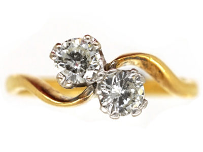 Edwardian 18ct Gold ​& Platinum, Two Stone Diamond Crossover Ring