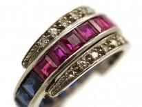 Art Deco Platinum, Ruby, Sapphire & Diamond Flipover Ring