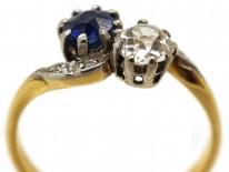 Edwardian 18ct Gold, Platinum Sapphire & Diamond Crossover Ring
