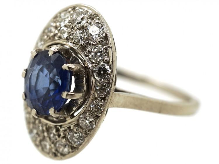 French Art Deco Platinum Oval Sapphire & Diamond Ring