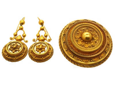 Victorian 15ct Gold Brooch ​& Earrings Set in Original Case