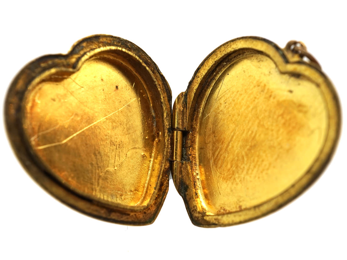 9ct Gold Back & Front Heart Locket with Swirl Design