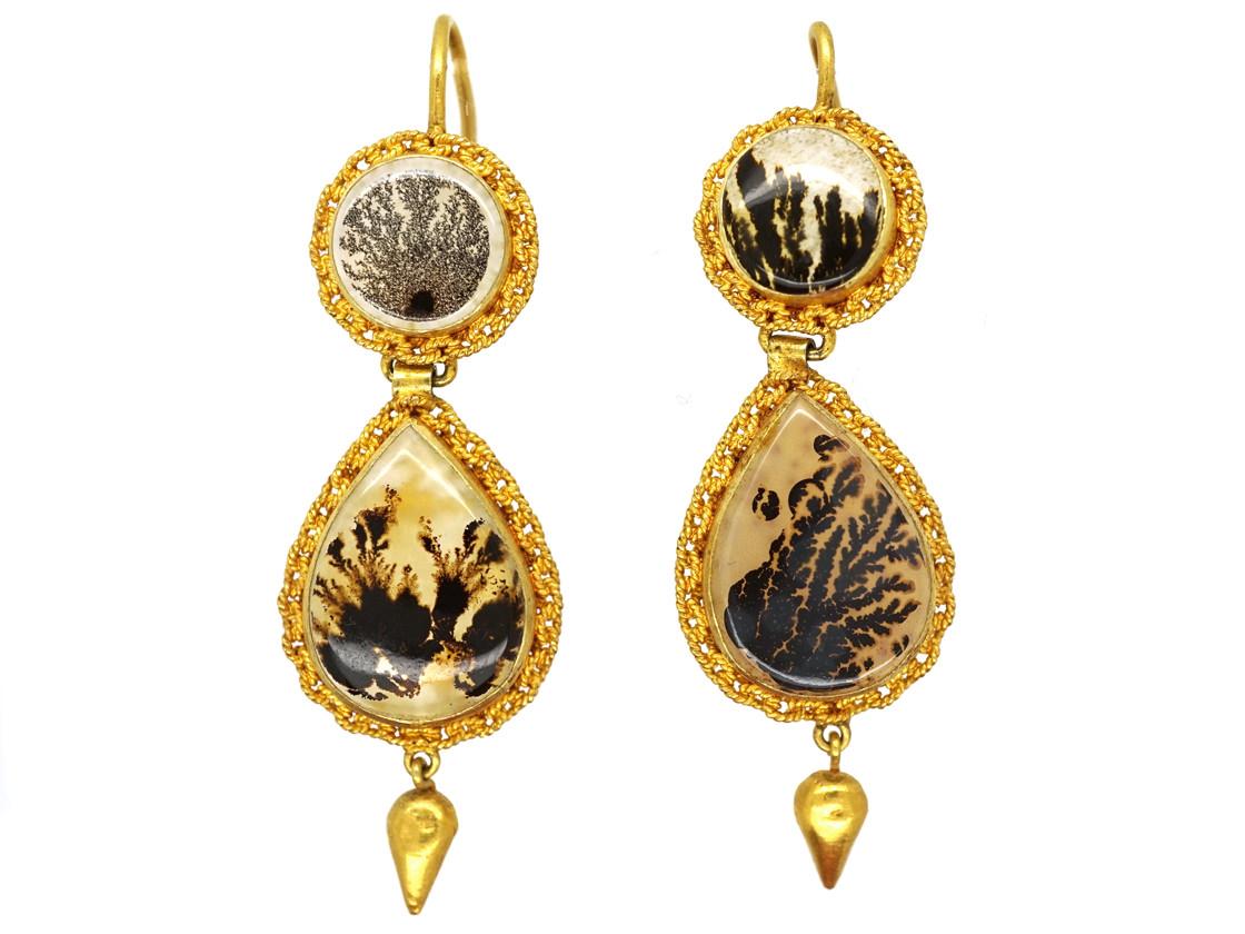 Georgian 18ct Gold Fern Agate Drop Earrings