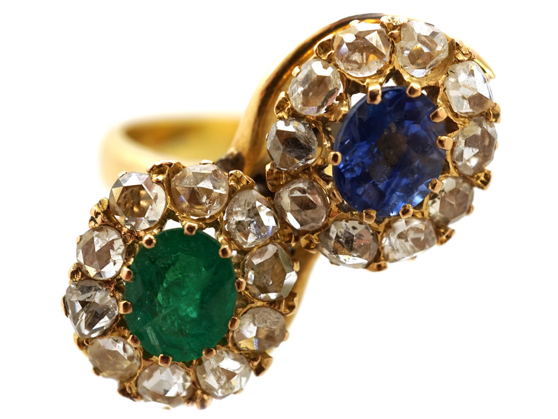 Russian Emerald, Sapphire & Rose Diamond Double Cluster Ring